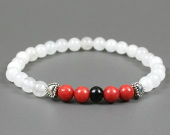 Coral dolomite, obsidian and snow quartz stacking stretch bracelet with antiqued silver plated heart accents, red bracelet, white bracelet