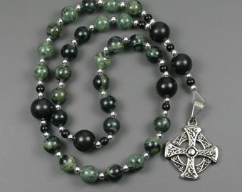 Anglican rosary in kambaba jasper and obsidian with an antiqued silver plated stainless steel Celtic cross