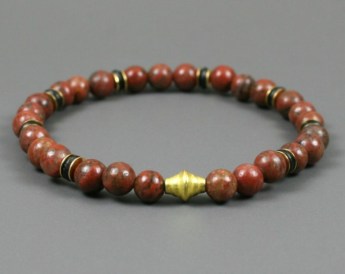Red sesame jasper stacking stretch bracelet with black bone and gold plated accents
