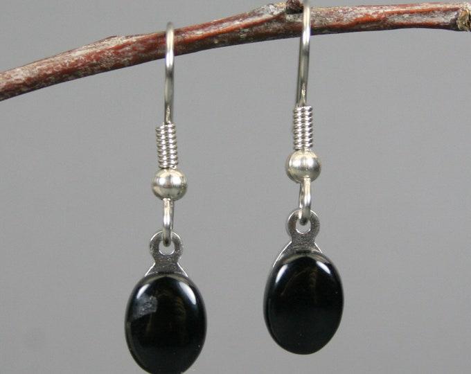 Petite black onyx earrings on stainless steel ear wires
