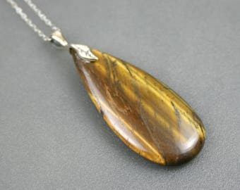 Tigereye teardrop pendant with antiqued sterling silver leaf bail on sterling silver necklace