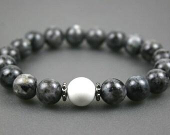 Blue labradorite stacking stretch bracelet with white howlite stone accent, blue labradorite bracelet, larvikite bracelet