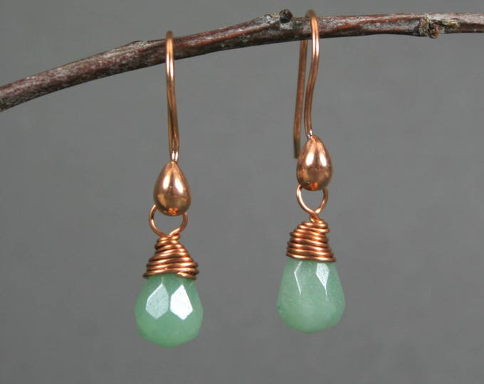 Green aventurine faceted briolettes wire wrapped with copper and suspended from copper ear wires