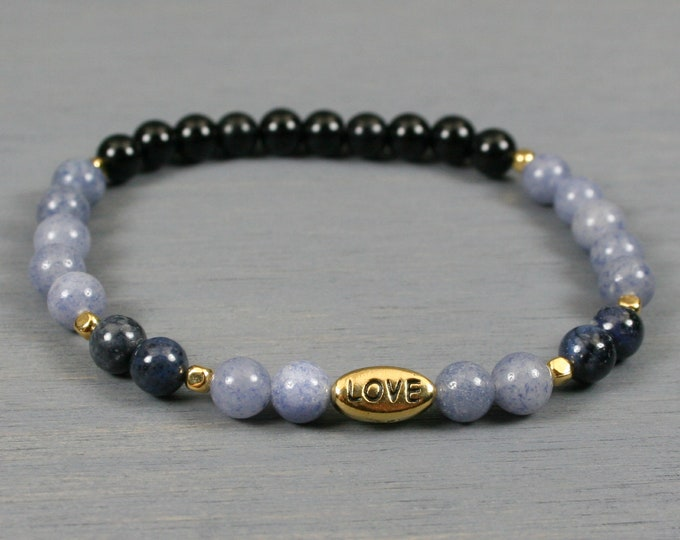 Blue aventurine, dumortierite, and obsidian stacking stretch bracelet with a gold plated LOVE bead and gold plated spacer beads