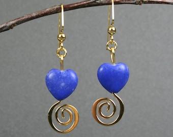 Blue stone heart earrings with gold spirals, blue heart earrings, blue earrings, gold earrings, spiral earrings