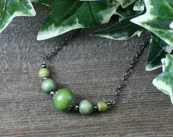 Olive green wood and gunmetal chain necklace, choker necklace