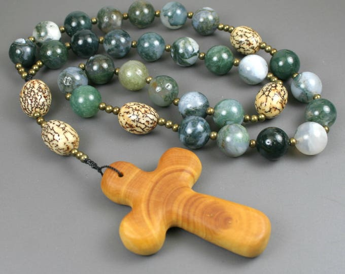 Anglican rosary in moss agate, betel nut, antiqued brass spacers, and a wood cross