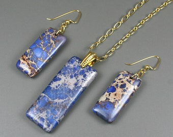 Lapis blue magnesite stone pendant on gold plated chain with matching earrings, blue pendant and earrings set, necklace and earrings set