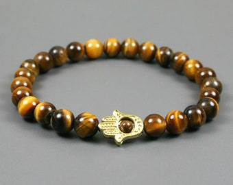 Tiger eye stacking stretch bracelet with gold toned Hand of Fatima or Hamsa bracelet