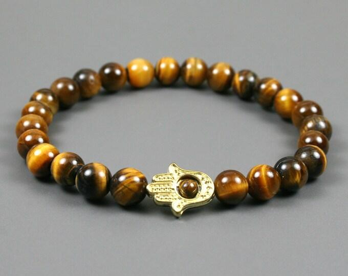 Tiger eye stacking stretch bracelet with gold toned Hand of Fatima or Hamsa bracelet