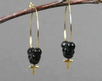 Faceted black agate and tiny gold plated crosses gold plated hoop ear wires