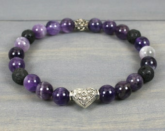 Flower amethyst and black lava stacking stretch bracelet with antiqued sterling silver heart accent bead
