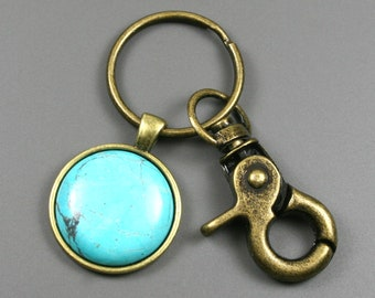 Turquoise howlite key chain in antiqued brass setting with swivel lobster claw, brass key chain, turquoise key chain, stone key chain