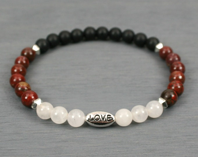 Rose quartz, brecciated jasper, and matte black onyx stacking stretch bracelet with an antiqued rhodium plated pewter LOVE bead