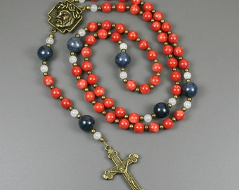 Bamboo coral, dumortierite, snow quartz and antiqued brass rosary in the Roman Catholic style