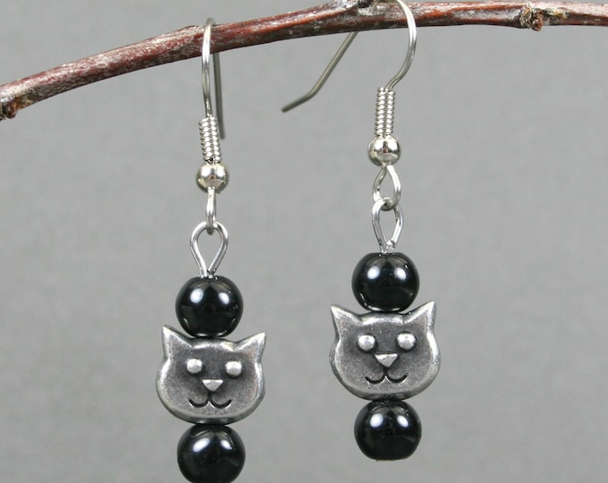Obsidian and antiqued pewter cat face earrings on stainless steel ear wires