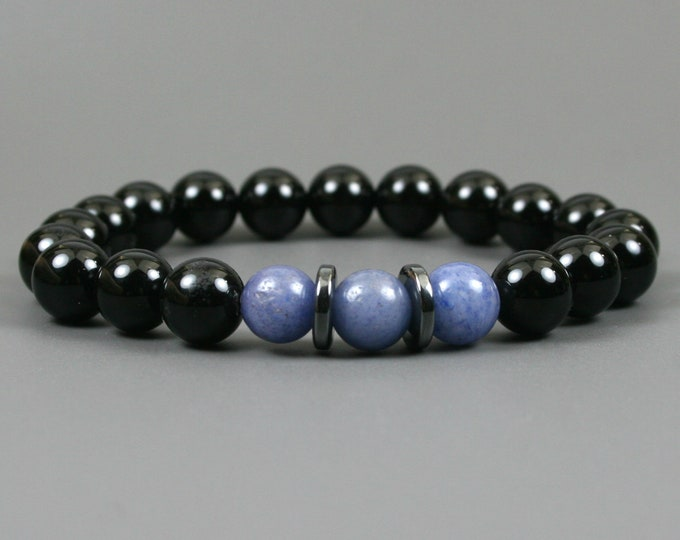 Blue aventurine and black onyx stacking stretch bracelet