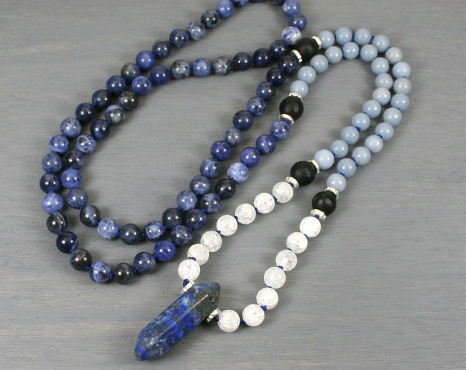 Sodalite, angelite, and white frosted crackle agate hand knotted mala in the Zen style with a hexagonal lapis lazuli crystal point