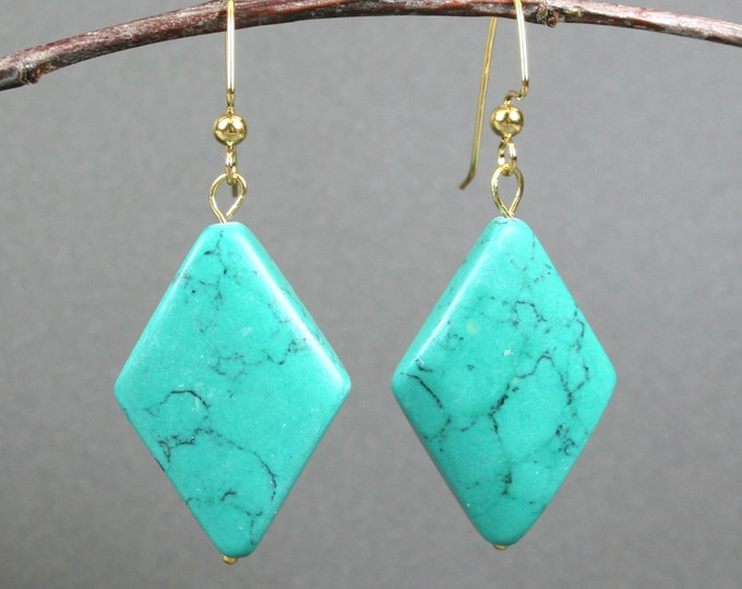 Green magnesite flat diamond earrings on gold plated ear wires