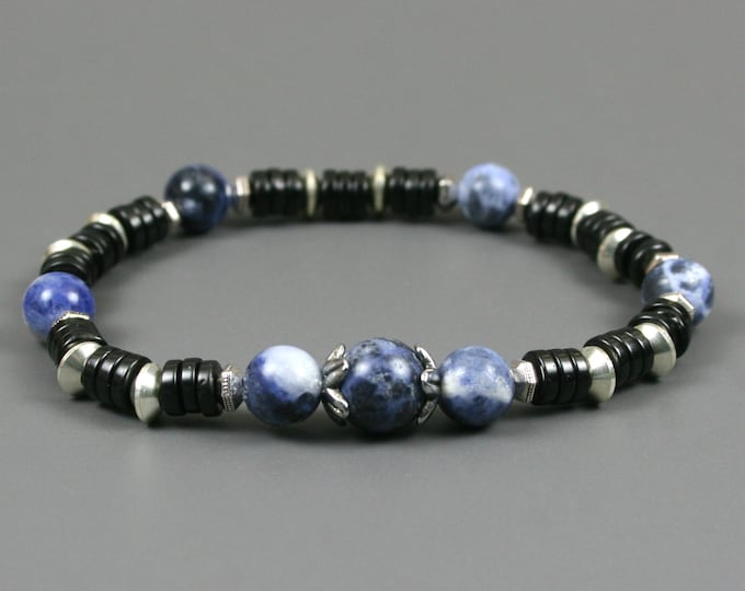 Sodalite and black coconut wood stacking stretch bracelet with silver plated spacers and pewter bead caps