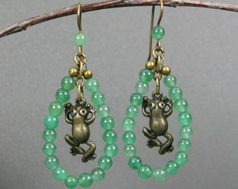 "Bronze leaping frog dangle earrings inside a ""lily pad"" of green aventurine on antiqued brass ear wires"