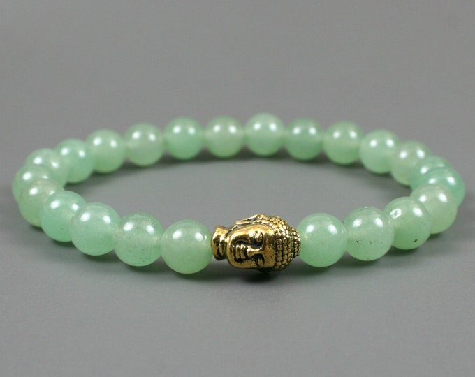 Green aventurine stacking stretch bracelet with antiqued gold plated Buddha head focal bead