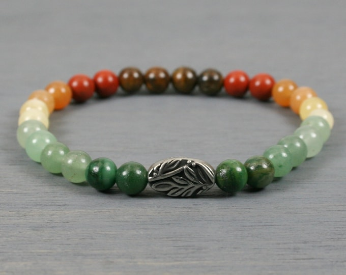Ombre autumn color stone stacking stretch bracelet with antiqued pewter botanical focal bead