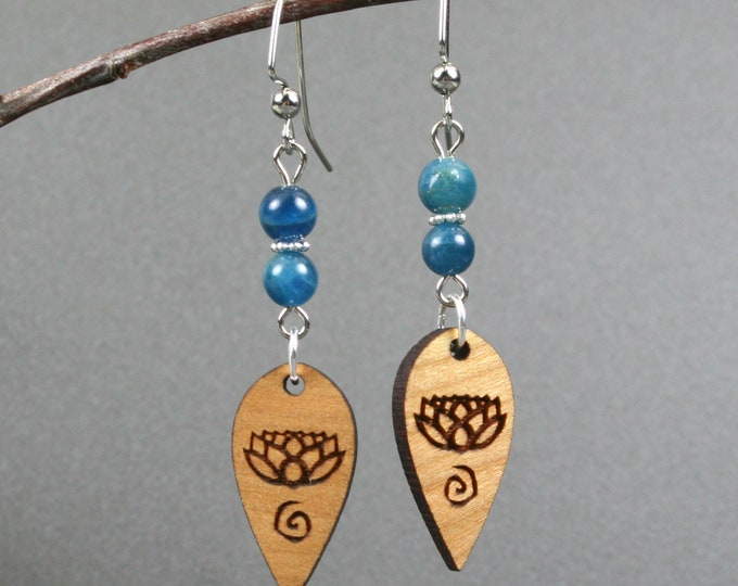 Apatite and wood earrings with lotus and spiral decoration and silver plated ear wires