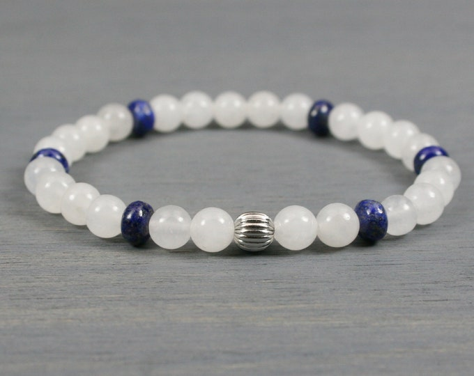 Snow quartz and lapis lazuli stacking stretch bracelet with stainless steel accent bead