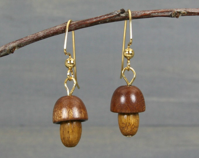 Wood mushroom earrings on gold plated ear wires