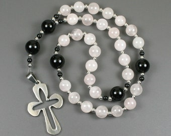 Anglican rosary in rose quartz and black onyx with a stainless steel cross, Christian prayer beads, rose quartz rosary, stone rosary