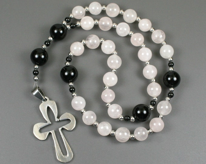Anglican rosary in rose quartz and black onyx with a stainless steel cross
