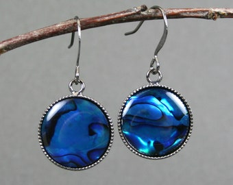Blue paua shell earrings in gunmetal plated bezels on gunmetal plated ear wires