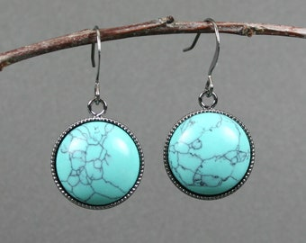 Turquoise howlite earrings in gunmetal plated bezels on gunmetal plated ear wires, blue earrings, gunmetal earrings, turquoise earrings