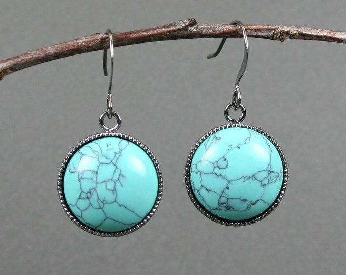 Turquoise howlite earrings in gunmetal plated bezels on gunmetal plated ear wires