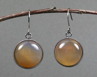 Orange red agate earrings in gunmetal plated bezels on gunmetal plated ear wires, orange earrings, gunmetal earrings, agate earrings