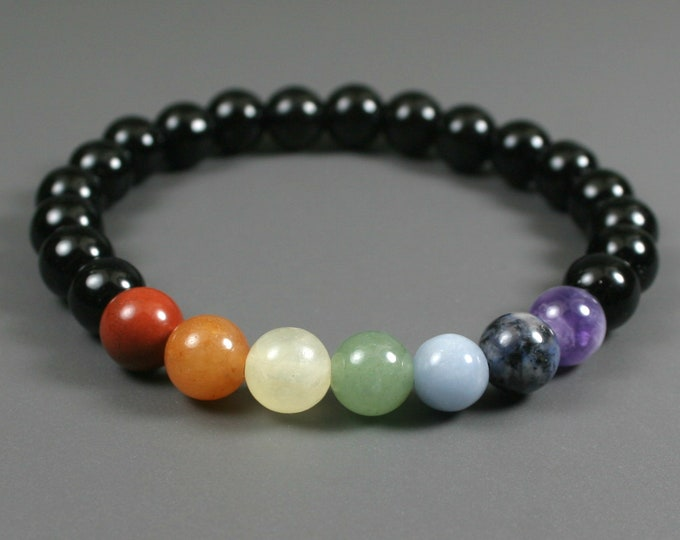 Rainbow stone bead stretch stacking bracelet with obsidian beads