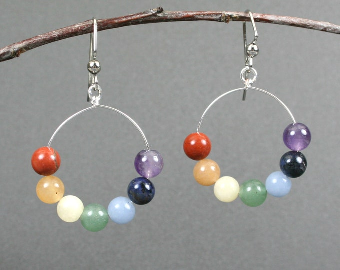 Rainbow stone earrings on silver plated ear wires