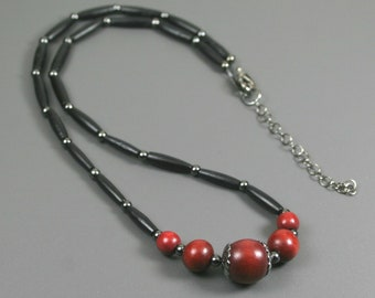 Dark red wood and black bone hairpipe necklace with gunmetal accents