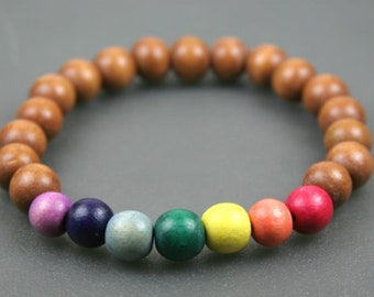 Rainbow wood bead stretch stacking bracelet, chakra bracelet, pride bracelet