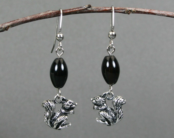 Antiqued silver squirrel and black onyx dangle earrings on silver plated ear wires