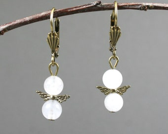 Snow quartz and antiqued brass angel wings on leverback ear wires, snow quartz earrings, brass earrings, white earrings, angel earrings