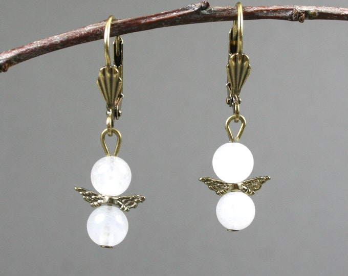 Snow quartz and antiqued brass angel wings on leverback ear wires