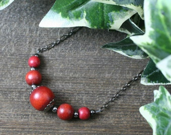 Dark red wood and gunmetal chain necklace, choker necklace