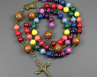 Rainbow wood rosary in the Roman Catholic style, LGBT pride prayer beads, rainbow rosary, pride rosary, rainbow prayer beads