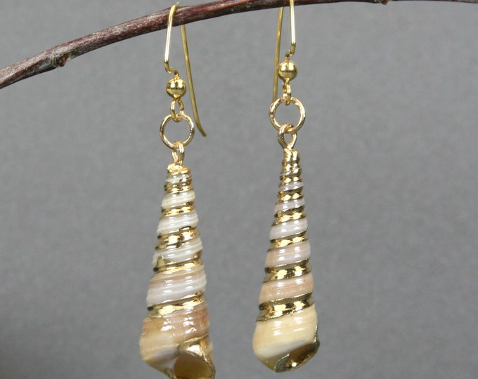 Tower shell dangle earrings with gold plated accents on gold plated ear wires