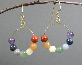 Rainbow stone earrings on gold plated ear wires