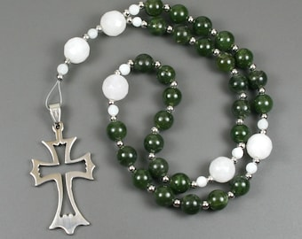 Anglican rosary in nephrite jade and snow quartz with an open stainless steel cross