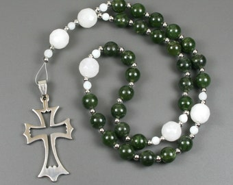 Anglican rosary in nephrite jade and snow quartz with an open stainless steel cross, Protestant rosary, stone rosary