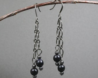 Black wood and gunmetal dangle earrings